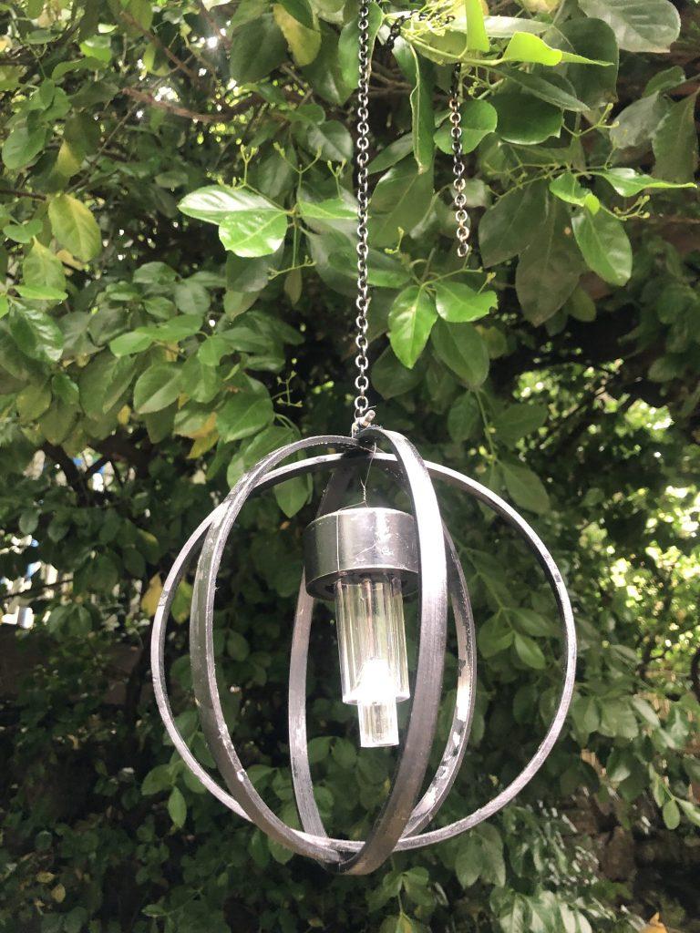 Garden orb light on the chain with solar light DIY