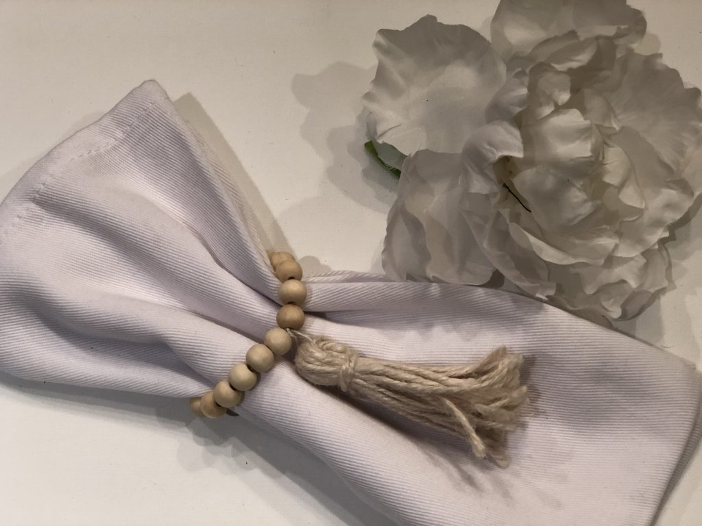 Pair of wooden beads napkin ring with tassel diy