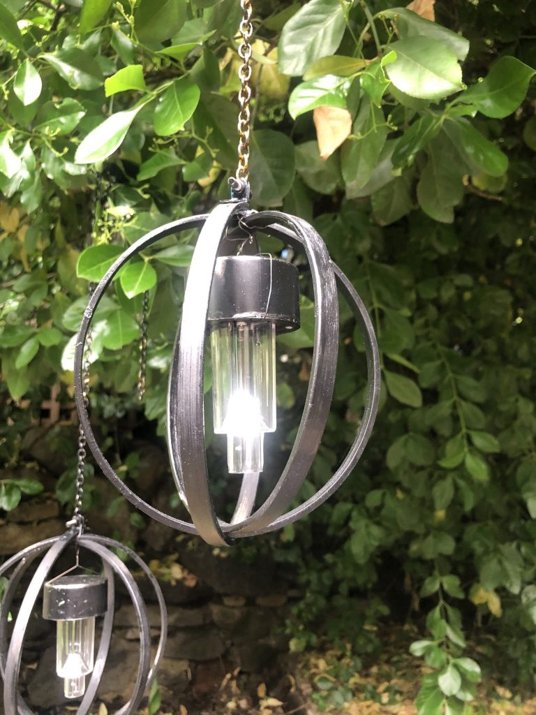 Light up your garden with orb light made out of embroidery hoops Learn how to make easy solar orb light out of embroidery hoops! Hip and budget friendly Patio light diy to enjoy year round.