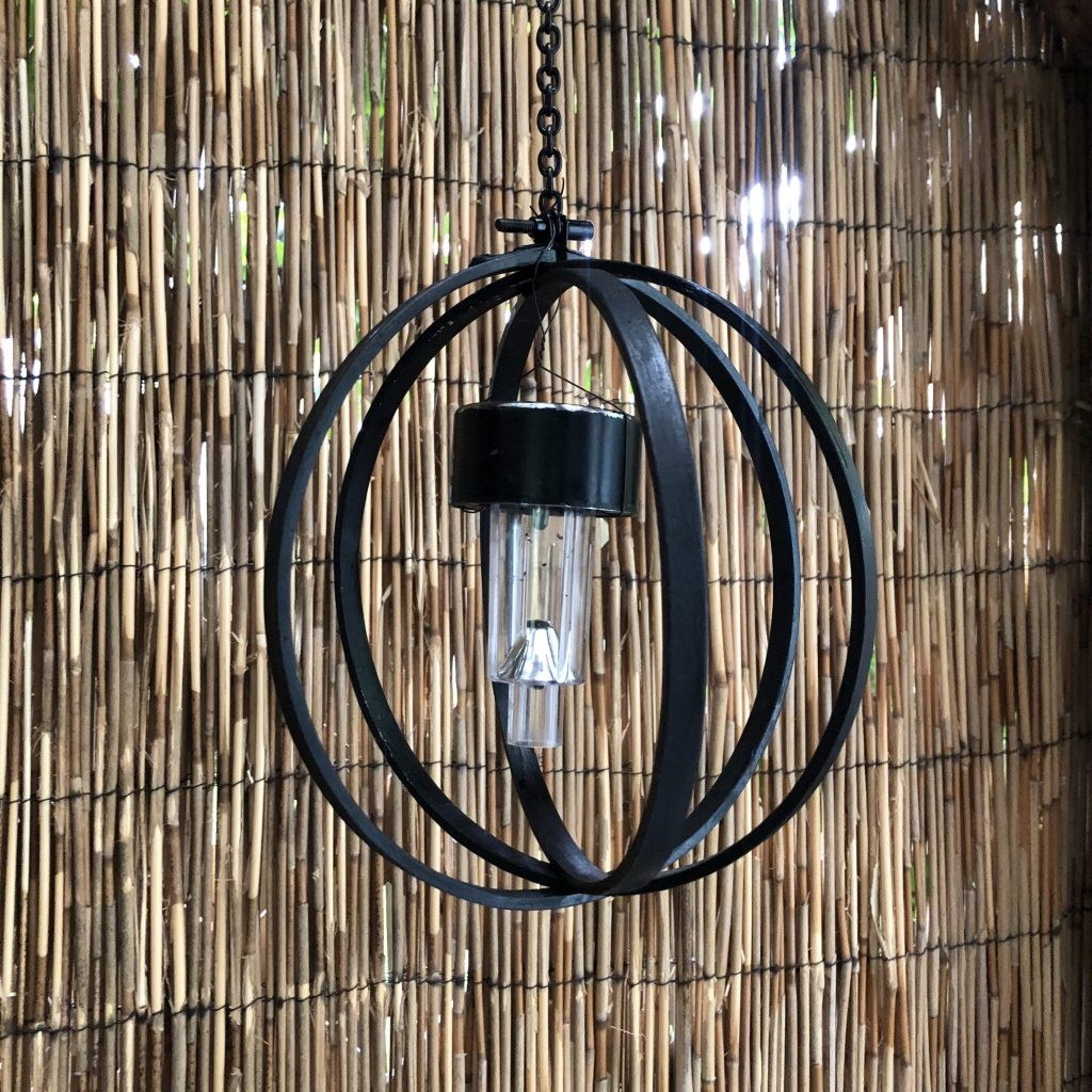 Beautiful solar light for your garden. Embroidery hoop orb with solar light