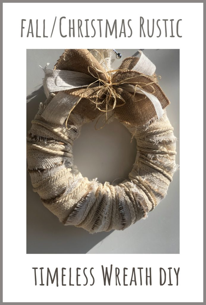 Fall layered wreath timeless with simple burlap, raffia and ribbon bow