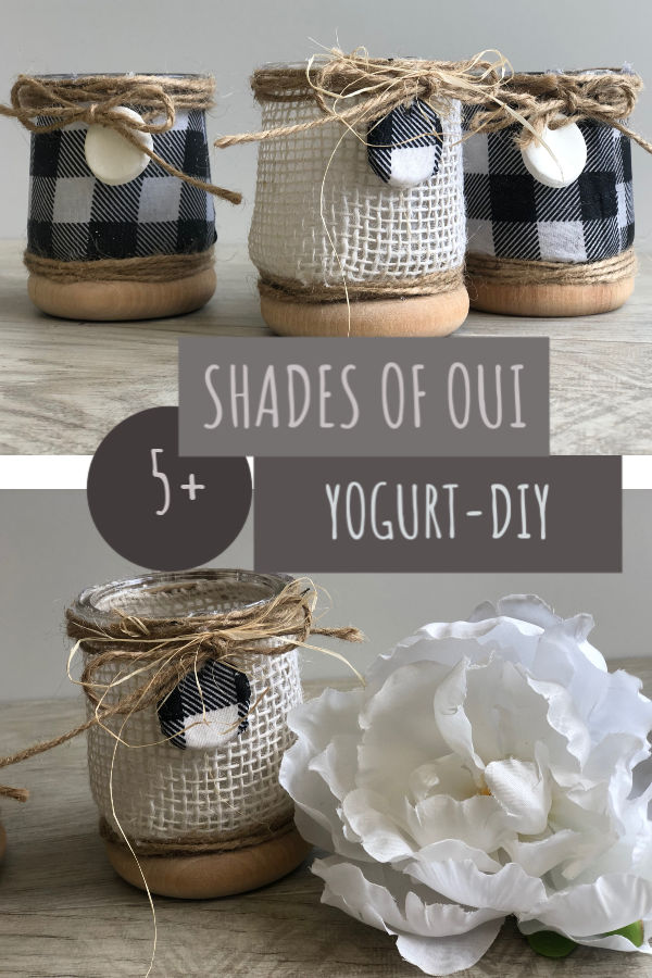 Fun way to use OUI yogurt jars. Buffalo check tags with burlap lining