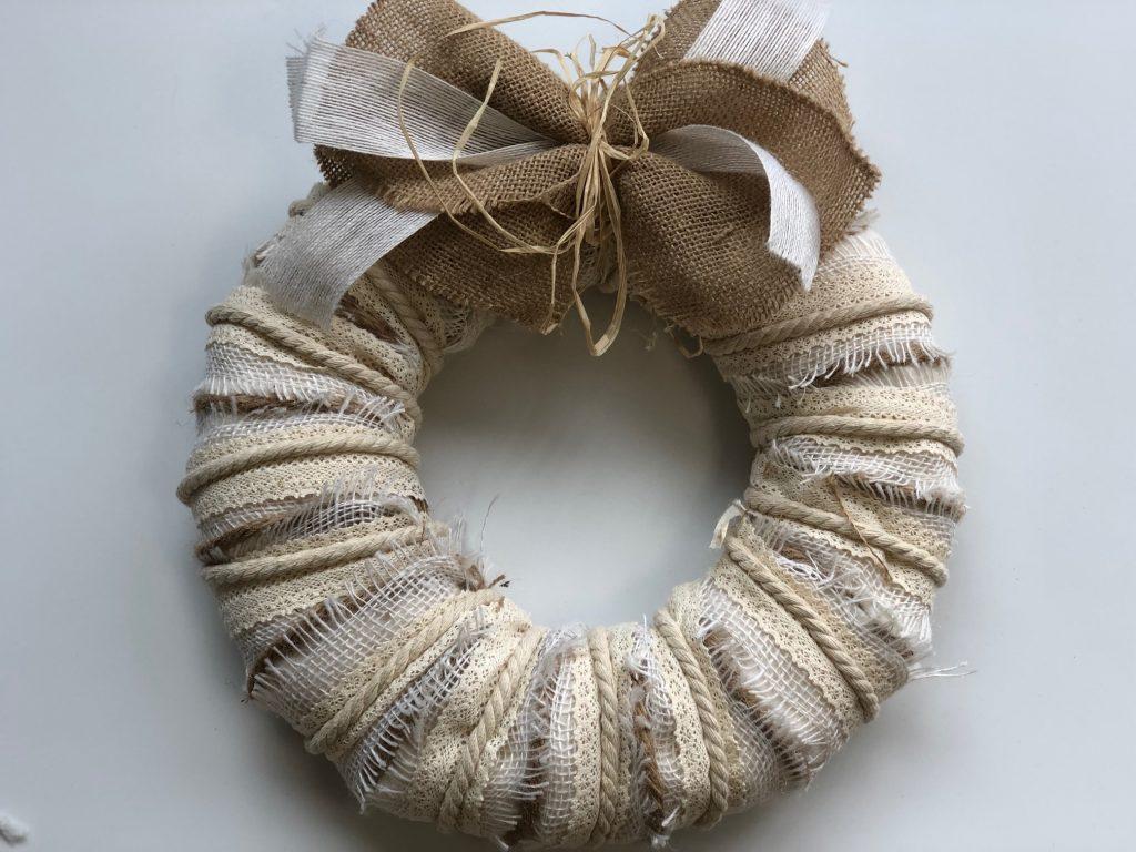 Rustic layered fall wreath. Lace ribbon, rope, burlap