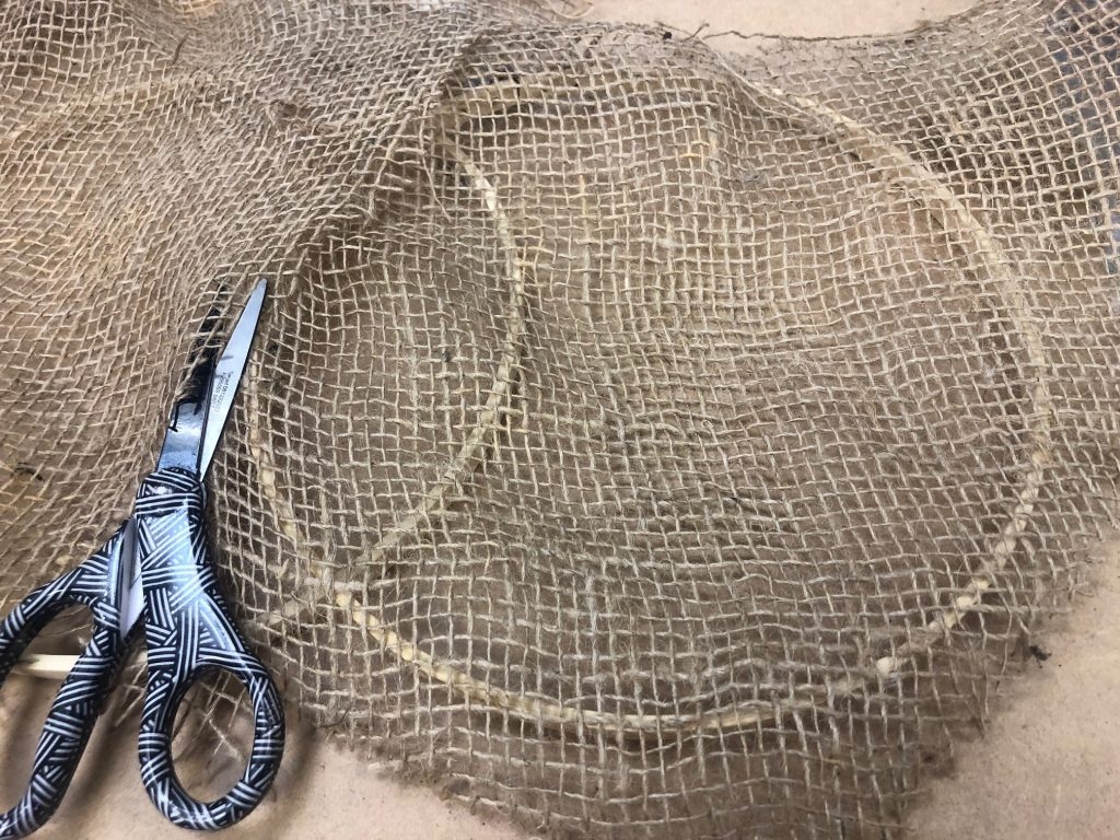 Rustic burlap pumpkin out of embroidery hoop