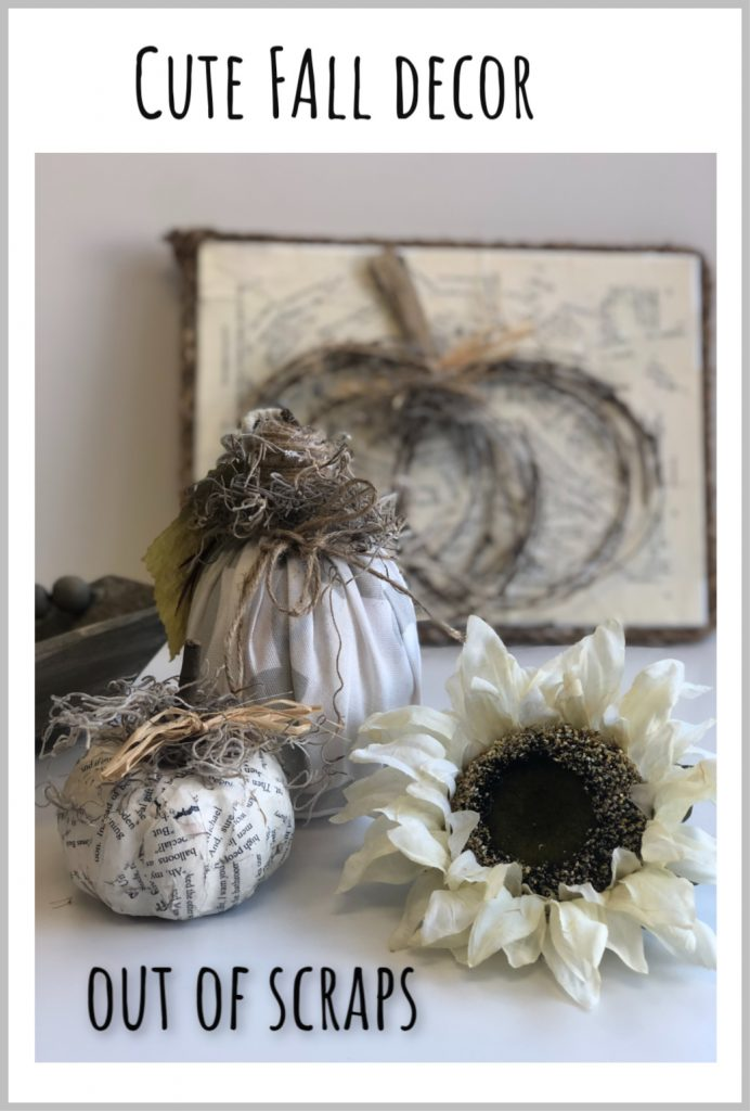 Use those scraps to decorate this fall. See what I did with my paper and fabric pieces. One cutest fall pumpkin galore DIY #falldecor #pumpkindiy #modpodgecraft