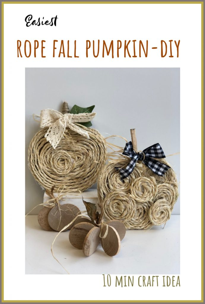 Learn how to decorate on the budget with those mini rope pumpkins. Easy instructions to follow. #falldecor #fall #pumpkindiy