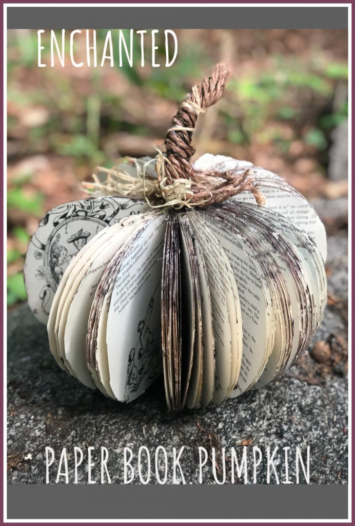 Enchanted paper book pumpkin is the one you need to have this fall in your house! Stunning fall diy project! Easy to follow instructions. #enchantedpumpkingarden #fall homedecor #pumpkindiy