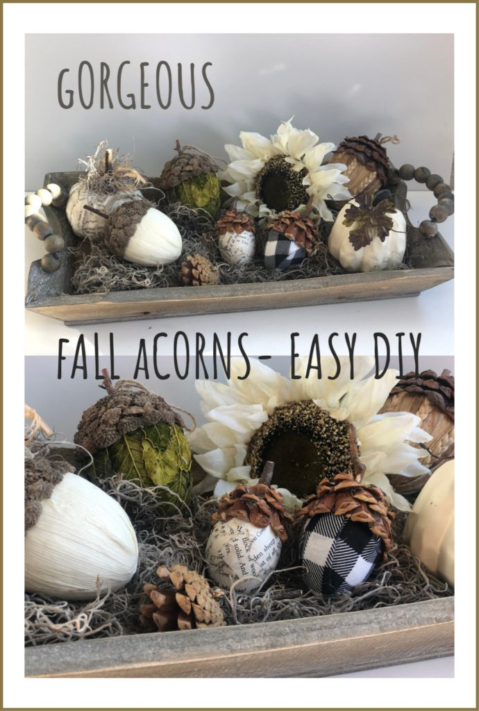 Gorgeous Fall Acorns- DIY. Learn how to turn your easter eggs into this fall decor stunner! #falldecor #falldiy #fallcrafts #fallhomedecor