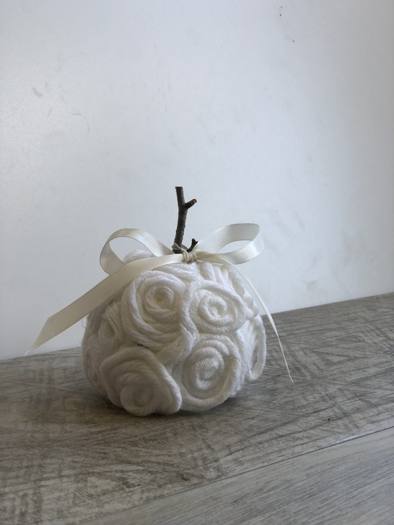 Stunning elegant white, mini pumpkin made out of twine. Simple satin bow. Beautiful easy fall diy. Perfect fall accesory