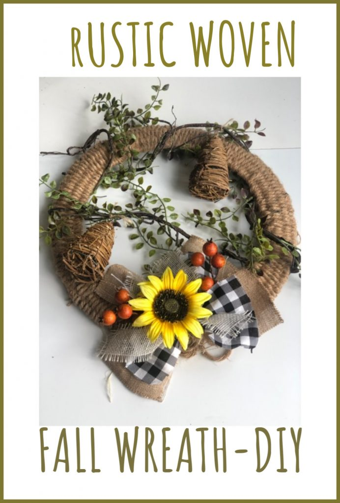Pretty Fall Rustic Woven Sunflower wreath idea.Decorate your doors with an Easy Woven Fall wreath. Learn my easy instructions for this swoon-worthy wreath...Make one today!!!!