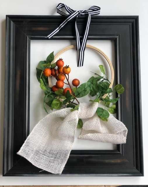 Farmhouse Modern Framed Fall Wreath idea. Simple burlap bow