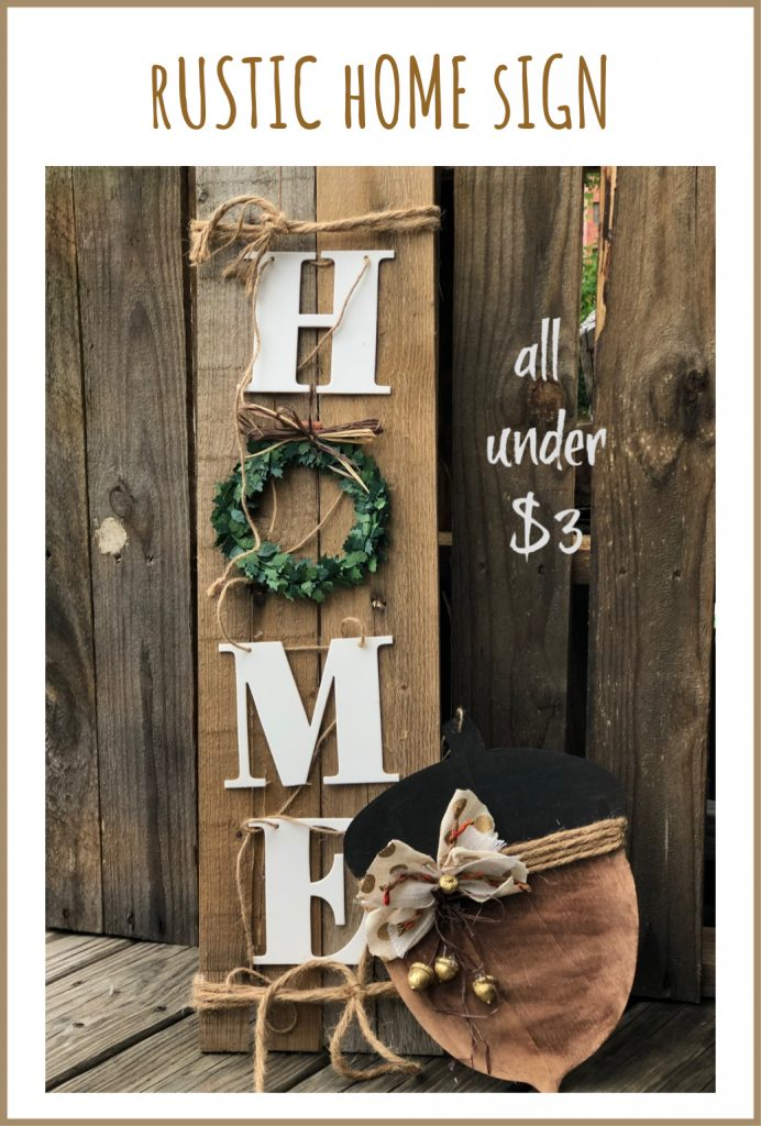 Let's put those dollar store items to work!Wooden HOME sign made out of Target garland. Perfect all year round decor for your porch or mantel. Easy to follow instructions