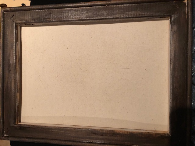 Reverse canvas stained with walnut wood stain water based