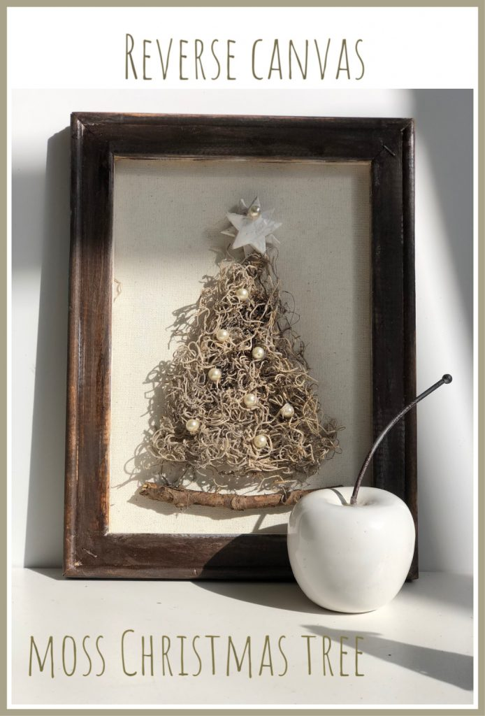 Natural whimsical  Spanish moss Christimas tree with pearl beads and clay handmade star. Reverse Canvas stained frame. Handmade ornaments that you can find at our Etsy store