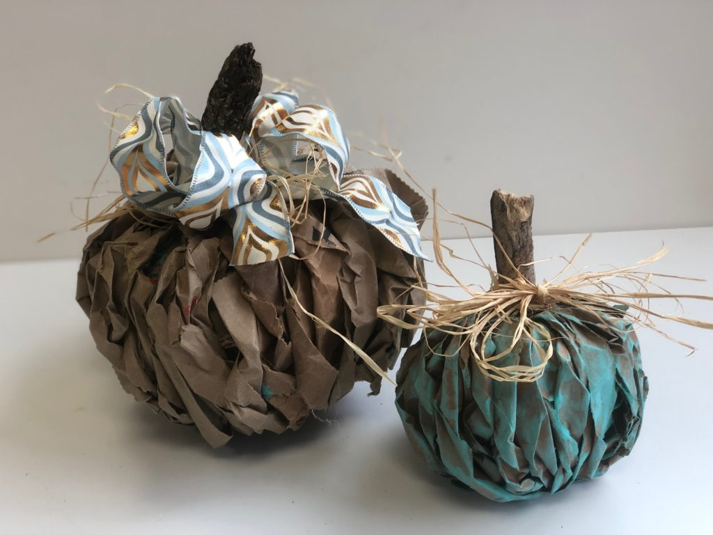 Brown paper lunch bag pumpkin diy. Easy to follow instructions.Teal Pumpkin Project! Brown paper fall decor diy.  Teal easy pumpkin diy. Messy bow. Paper fall decor pumpkin diy