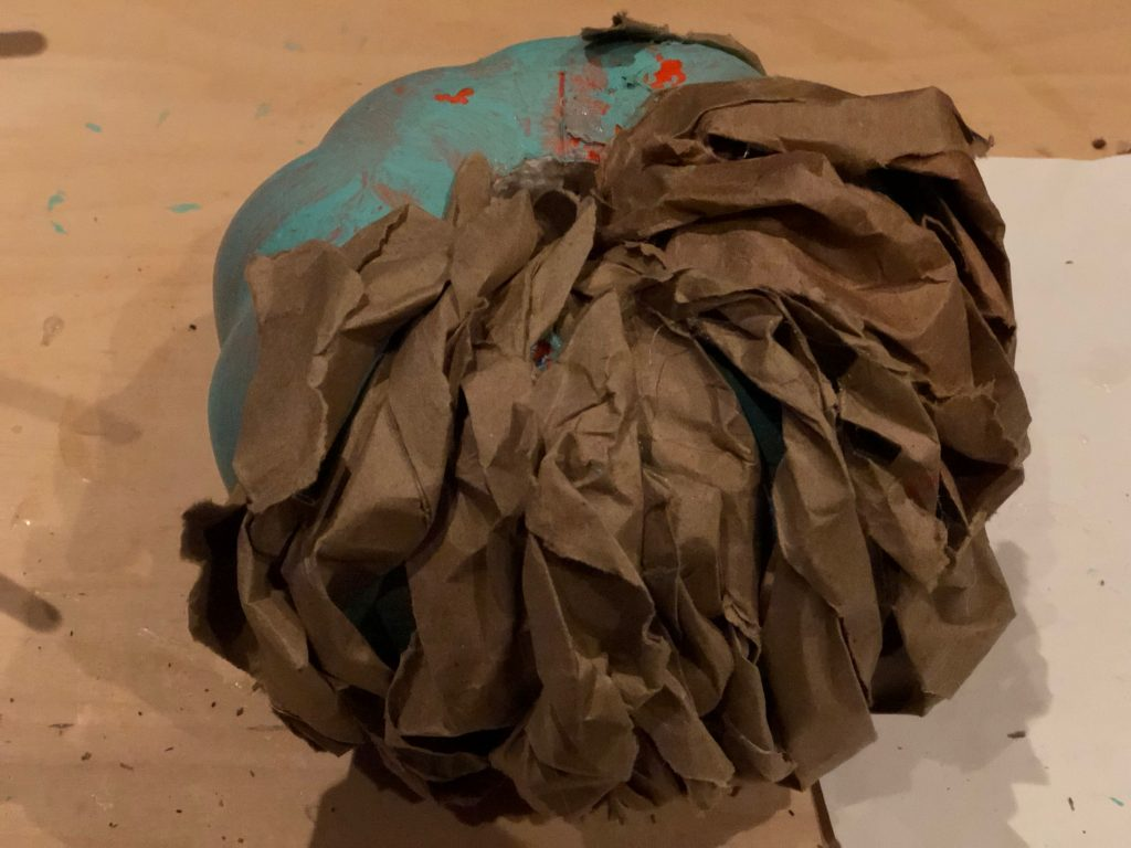 Teal Pumpkin Project! Brown paper fall decor diy.  Teal easy pumpkin diy. Messy bow. Paper fall decor pumpkin diy
