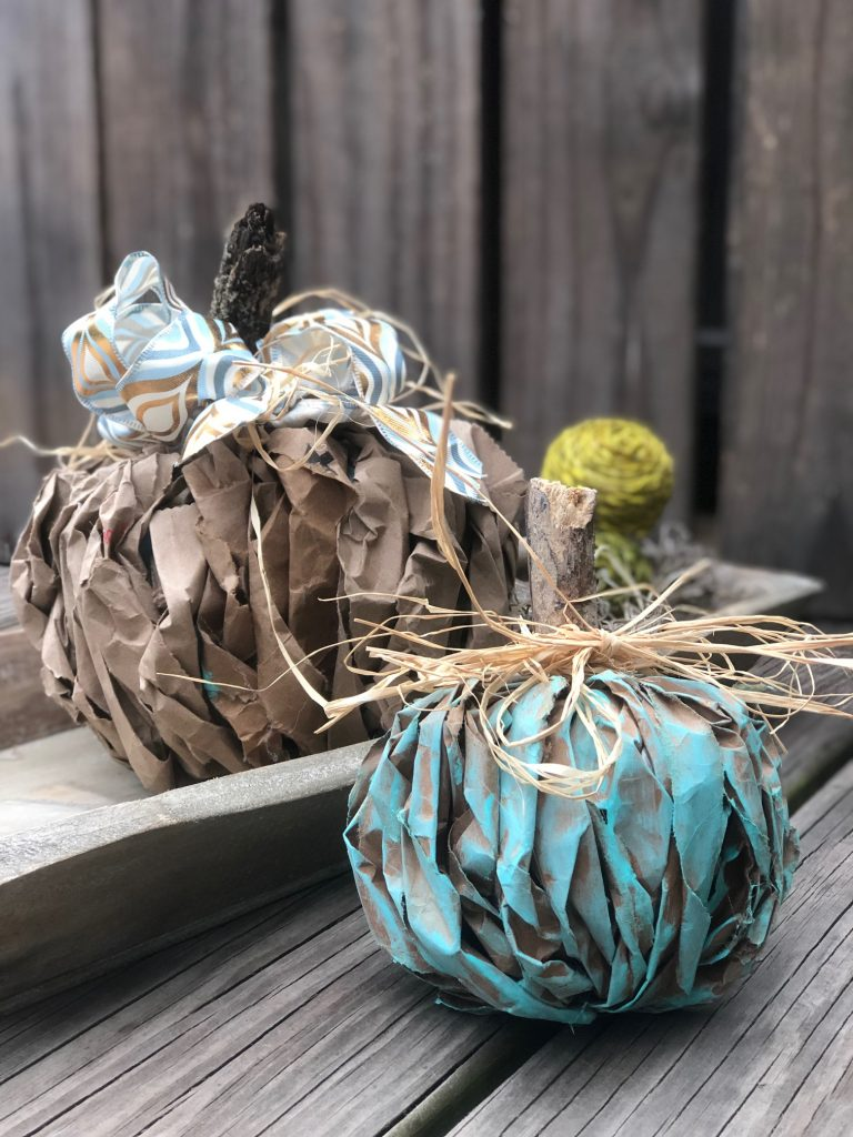 Teal pumpkin project. Lunch bag fall pumpkin craft.
