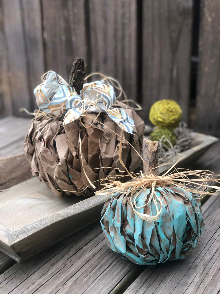 Brown lunch bag textured pumpkin. Teal pumpkin DIY