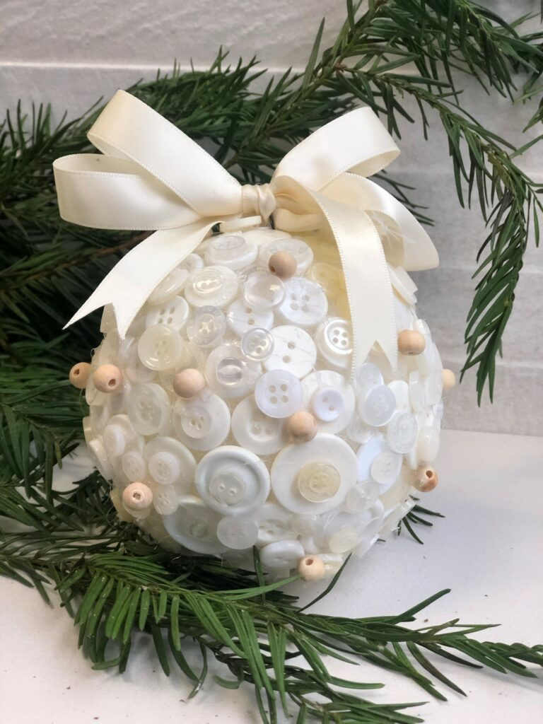 Learn how to make elegant cute button Christmas tree ornament with easy folded satin bow
