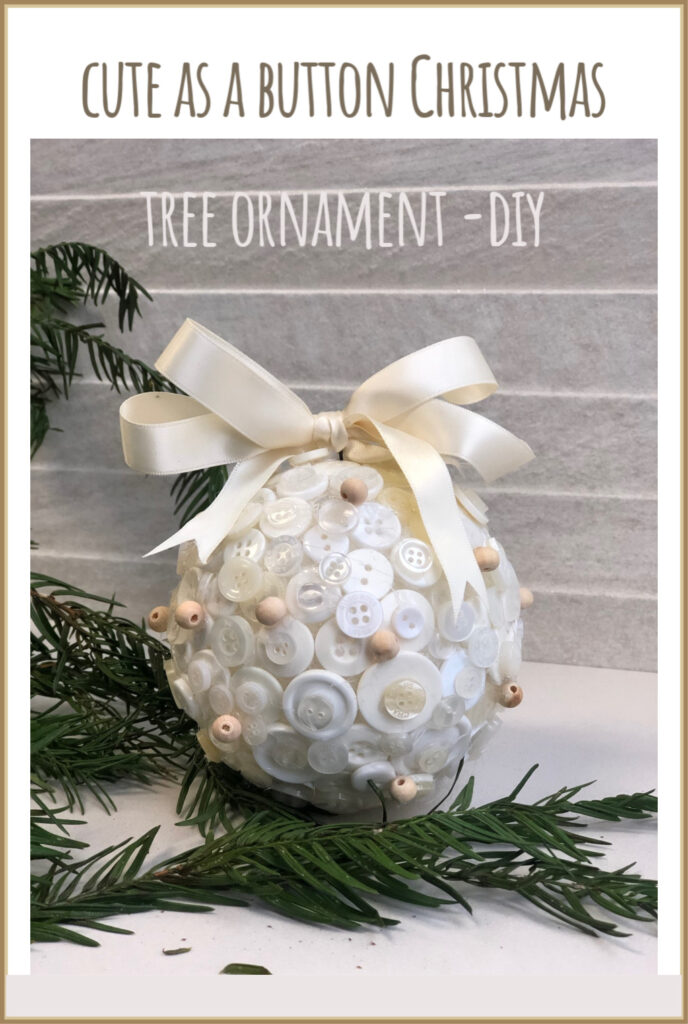 "Learn how to make easy ""Cute as a Button"" Christmas tree Ornament DIY.  Satin easy folded bow."