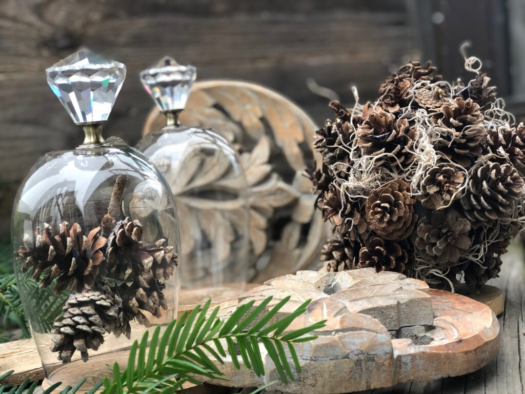 Mini Cloche and pine cone sphere are perfect  home decor duo in your Christmas decor
