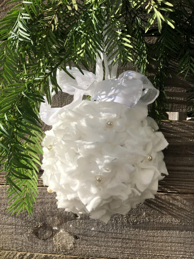 White Christmas ornament diy with satin bow