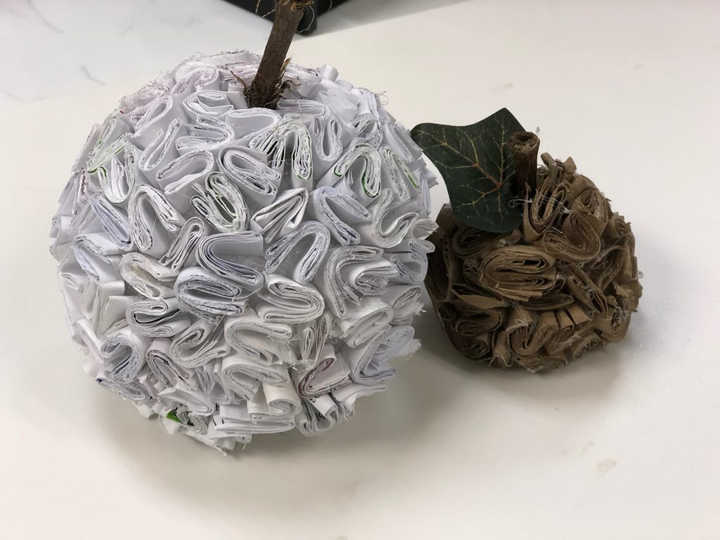White and brown recycled paper pumpkin diy. Junk mail craft