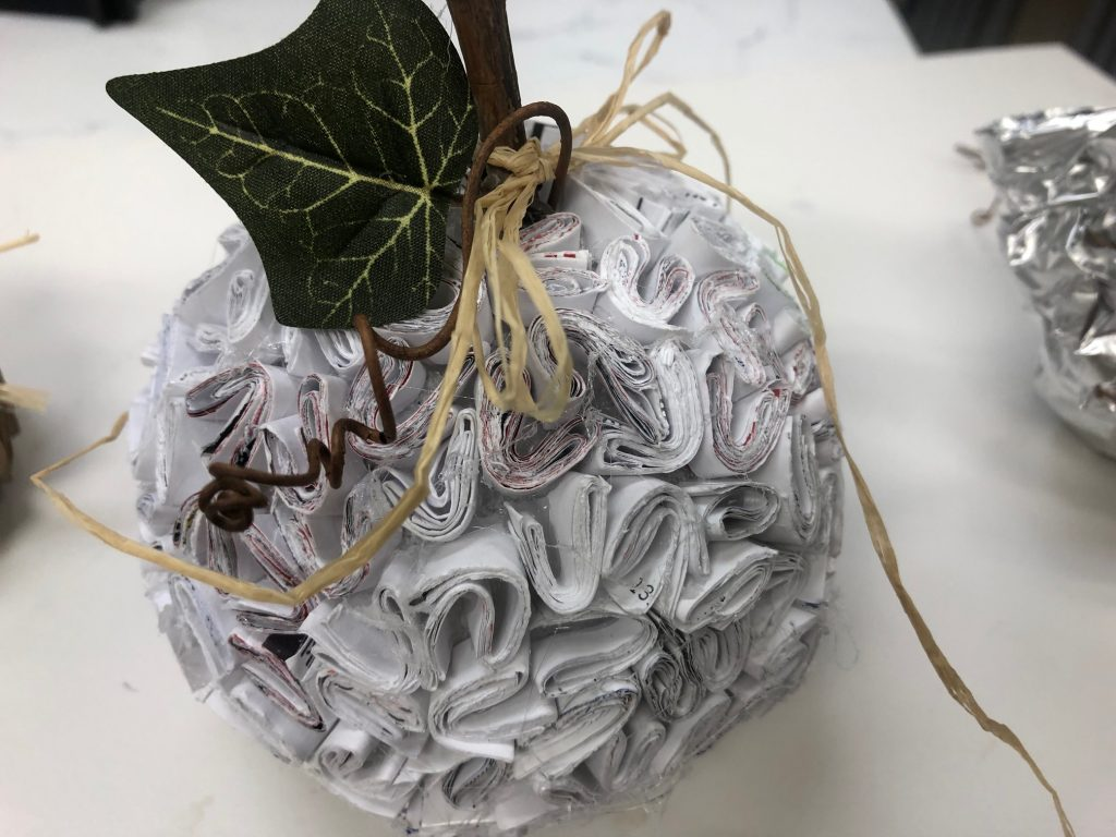 Recycled paper pumpkin diy. Fall decor