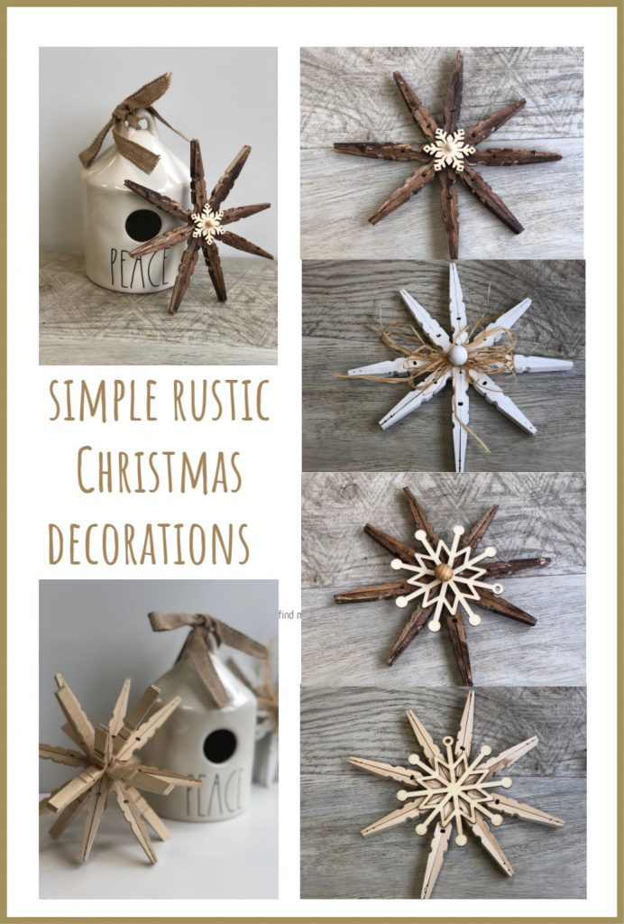 Learn how to make simple Rustic Christmas Decorations . Christmas ornamentsHome Decor doesn't have to cost a small fortune.Let's put those clothespins to work this holiday season!