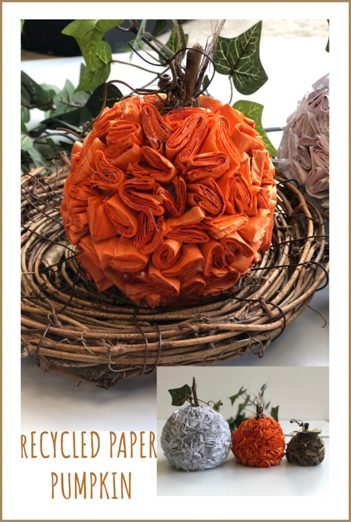 Thirfty way to decorate this fall. Learn how to make stunning pumpkin out of recycled paper. Super easy DIY. Textured paper pumpkin. Junk mail craft.