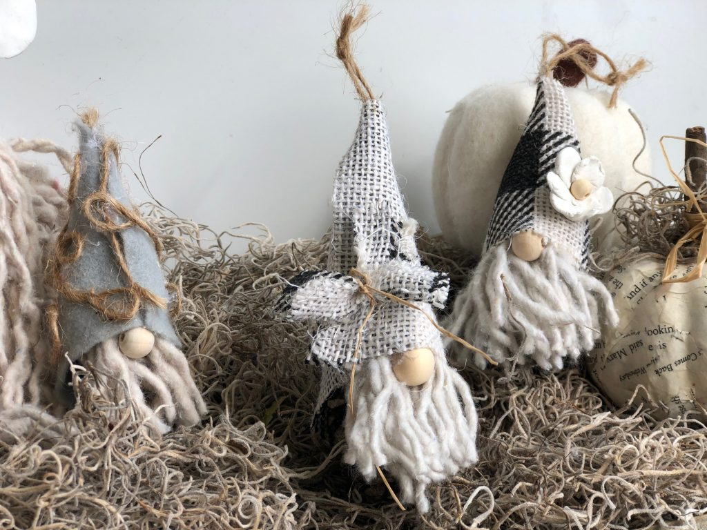 Cutest mini pine cone Christmas Gnome ornaments around. Buffalo check gnome hat. Thrifty Christmas decor DIY. Dollar Tree mop