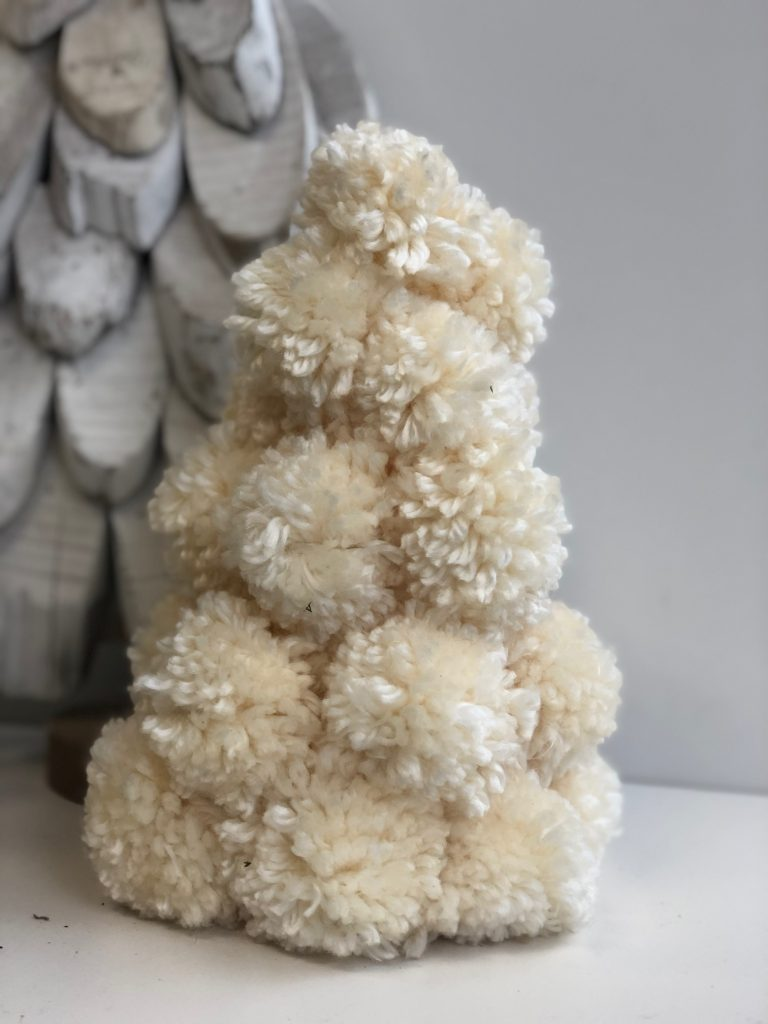 Pom-pom white Christmas tree. Easy to follow directions