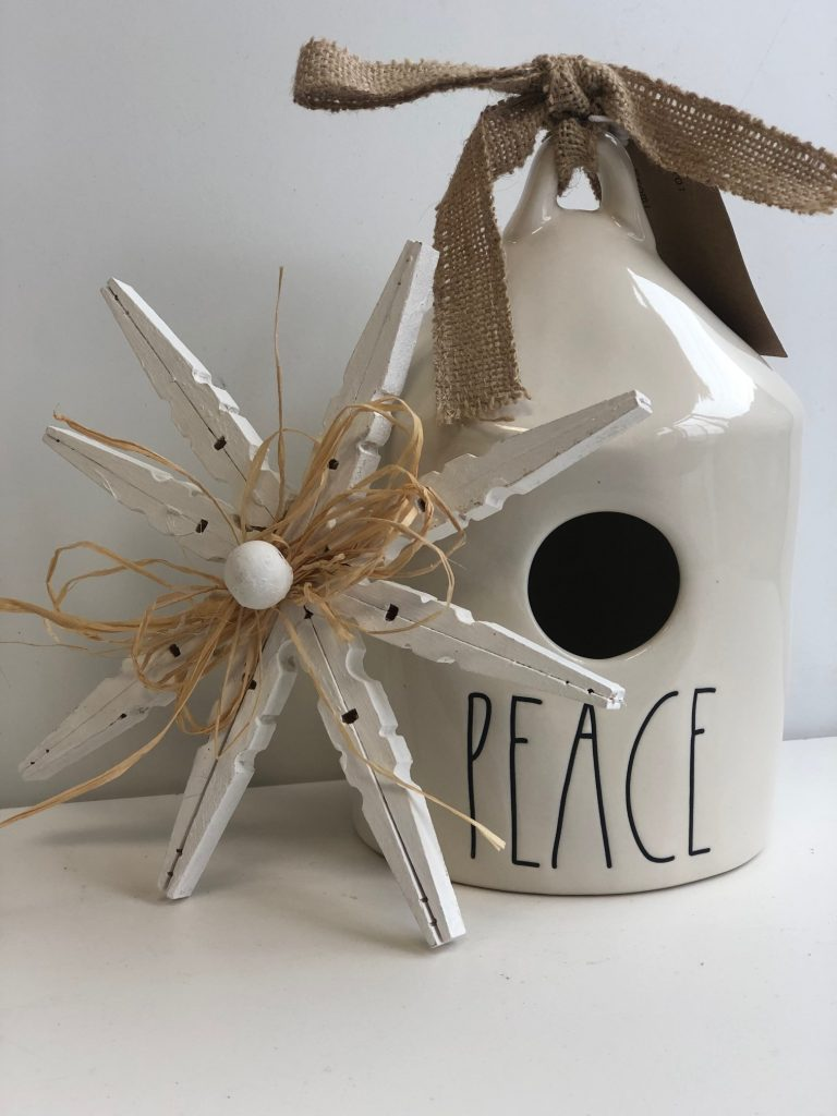 Learn how to make Rustic White clothespin star snowflake ornament