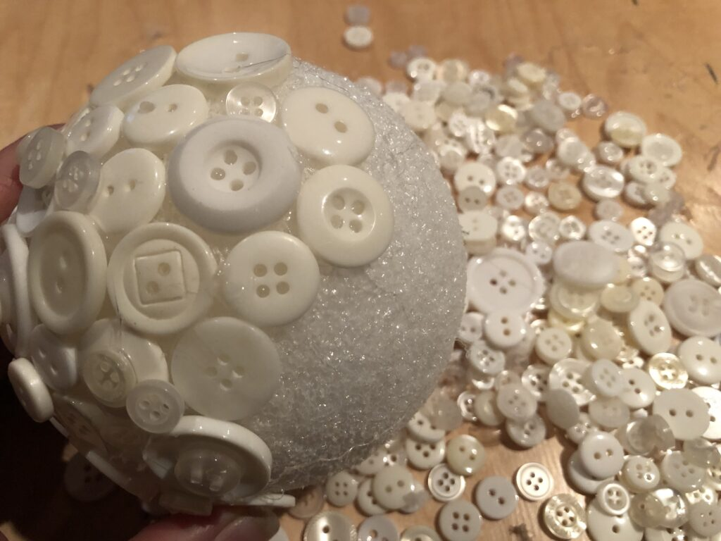 Styrofoam ball elegant button Christmas tree ornament diy
