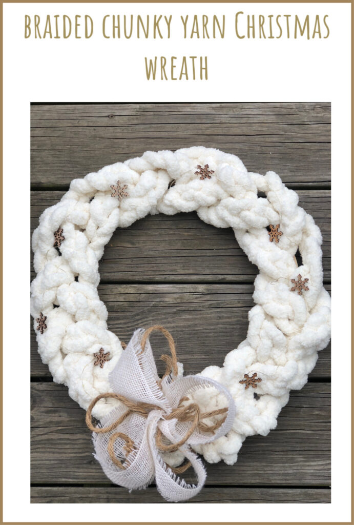 Learn how to make Braided Chunky Yarn White Christmas wreath. Easy simple Folded Bow.