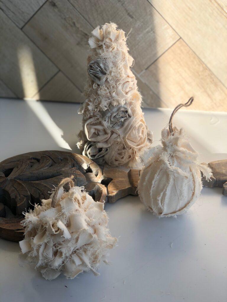Learn how to make easy vintage Christmas decor using drop cloth. Christmas tree ornaments DIY