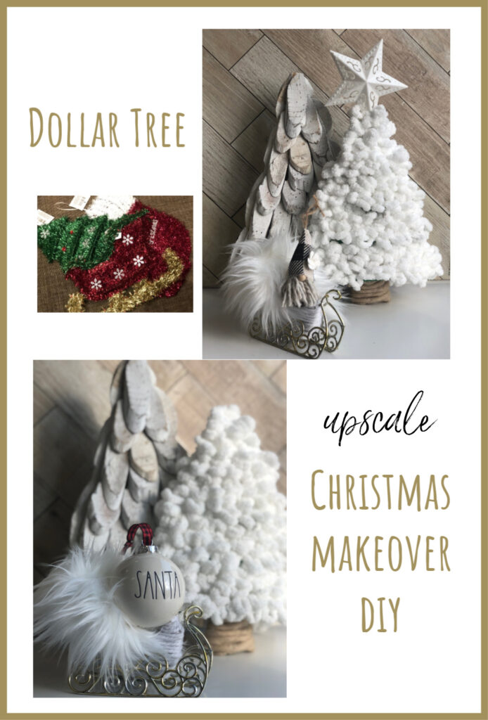 Learn how to turn inexpensive Dollar Tree merchandise into upscale Christmas decor!  White Christmas. Chunky yarn tree