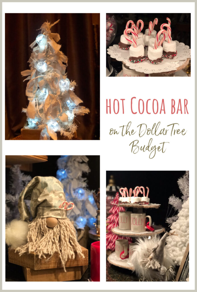 Setting up a hot chocolate bar is so much fun! There are so many different things you can do, depending on the look you are going for. Let's decorate on Dollar Tree budget
