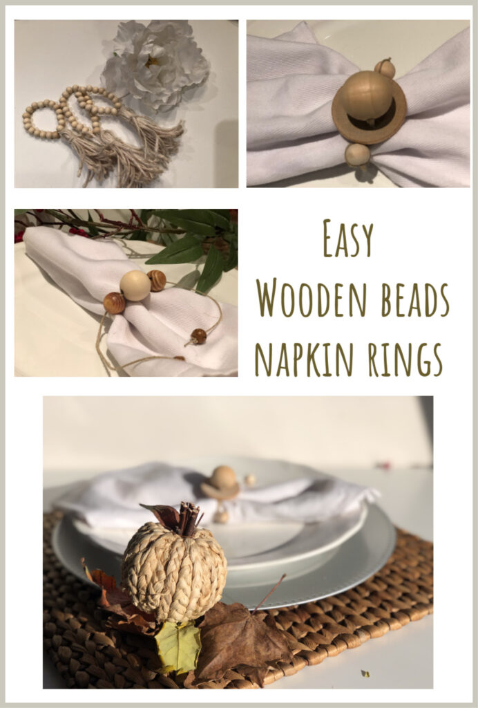 Beautiful 3 wooden bead easy to make rustic napkin ring. Christmas napkin ring. Thanksgiving napkin rings idea. holiday tablescapes