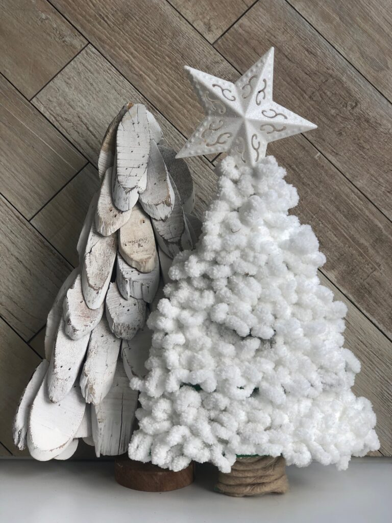 Learn how to turn inexpensive Dollar Tree merchandise into upscale Christmas decor!  White chunky yarn Christmas tree diy. Ornament diy