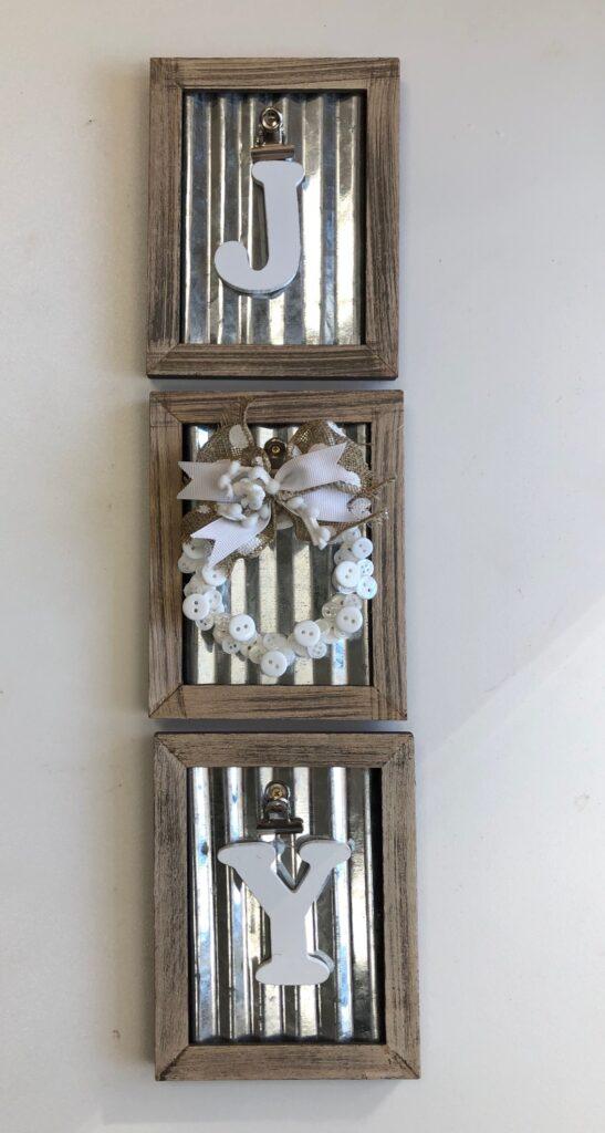 Elegant rustic JOY SIGN. Framed button mini Christmas tree wreath ornament DIY . Dollar Tree Christmas craft