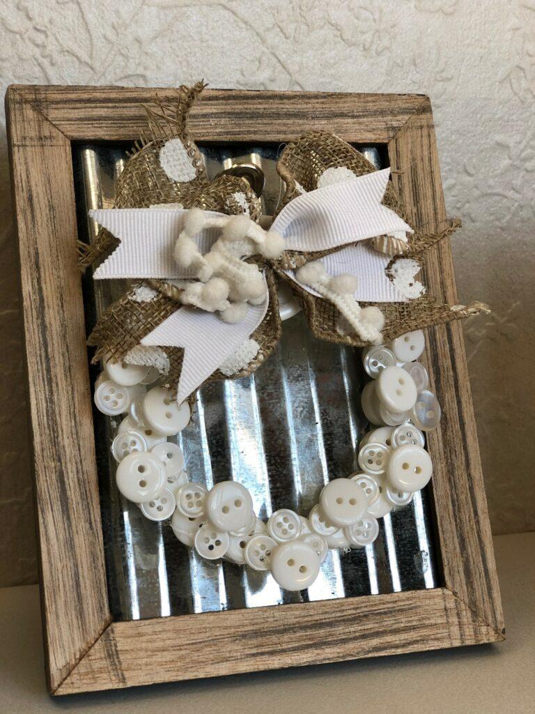 Framed button mini Christmas tree button wreath ornament DIY