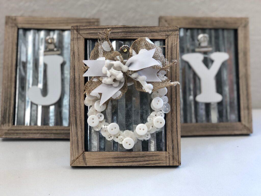 Elegant rustic JOY SIGN. Framed mini Christmas tree button wreath ornament DIY