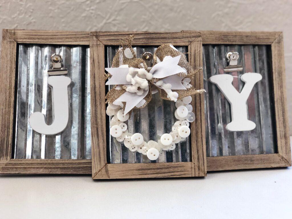 Elegant rustic JOY SIGN. Framed button mini Christmas tree button wreath ornament DIY . Dollar Tree Christmas craft