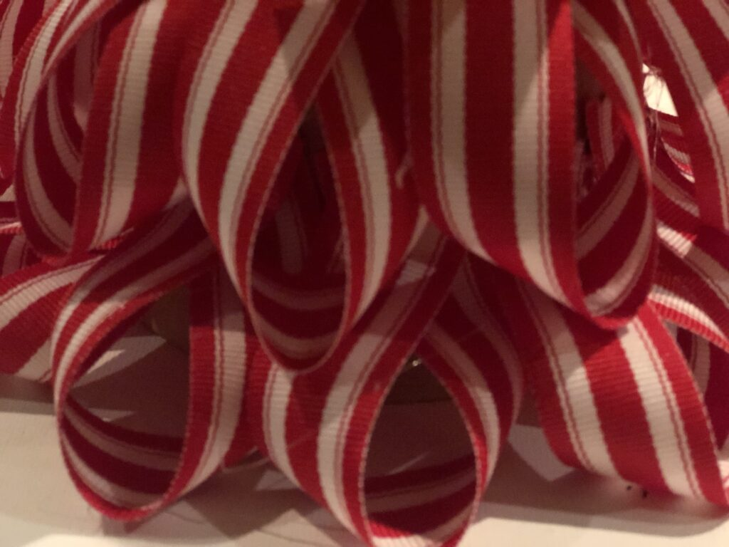 Looped ribbon. Candy cane Christmas Tree