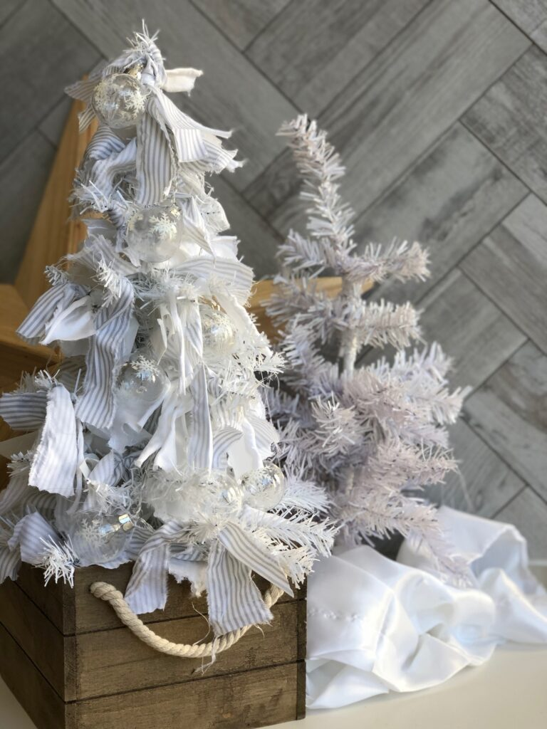Dollar Tree Rag Christmas tree in Rustic style . Dollar Tree craft