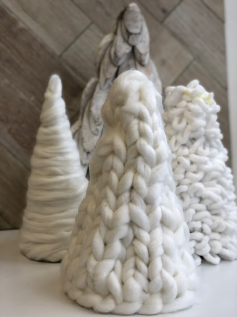 Learn how to hand knit beautiful Tree out of Chunky yarn. loopy yarn tree  Dollar Tree Christmas craft