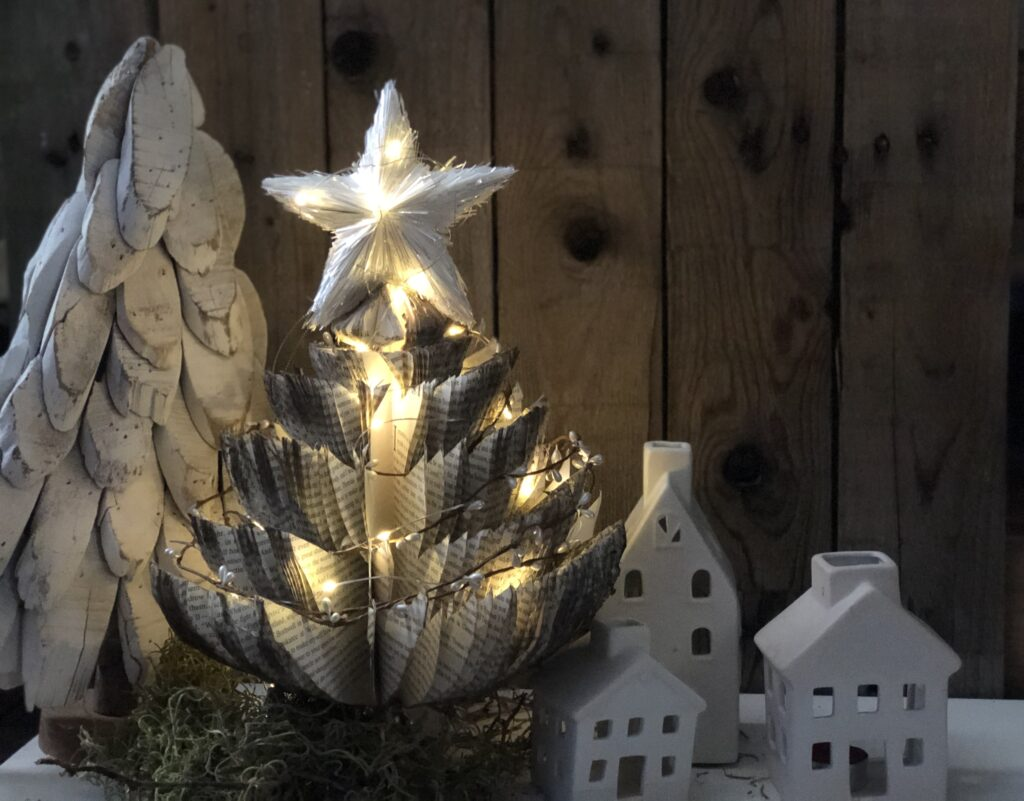 Learn how to make Christmas tree out of book pages. Stunning Budget friendly Christmas project. Dollar tree craft