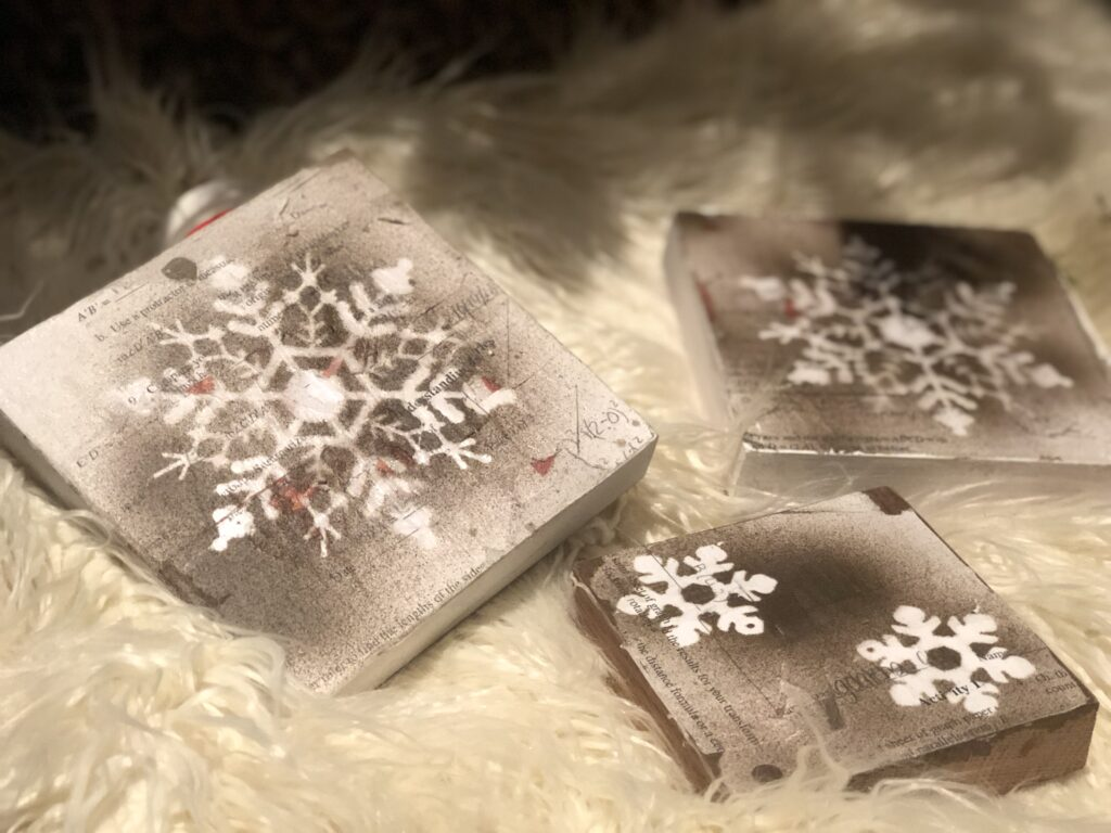 Learn how to make winter vintage farmhouse snowflake sign .Dollar tree up-cycle winter home decor craft