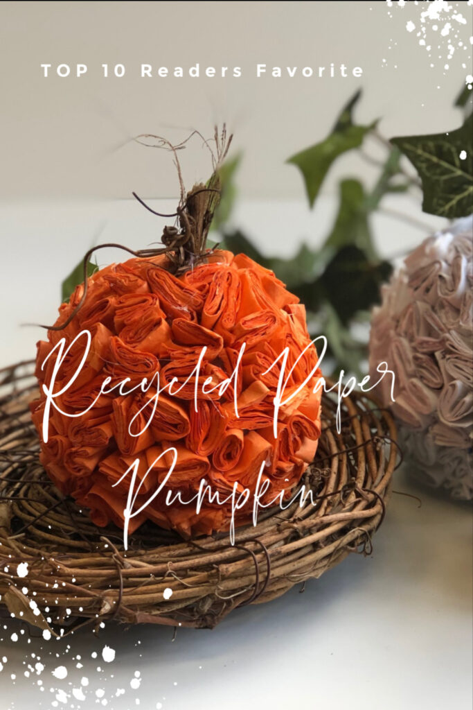 Thirfty way to decorate this fall. Learn how to make stunning pumpkin out of recycled paper. Super easy DIY. Textured paper pumpkin. Junk mail craft.   Top 10  readers favorite